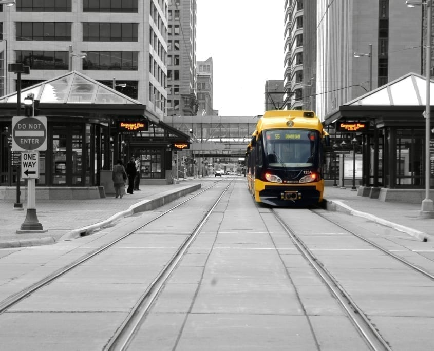 Light rail stopped in Downtown Minneapolis