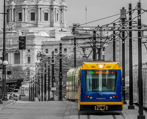 Light Rail in front of St. Paul State Capital