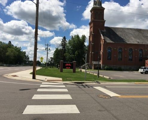 Street corner with church and crosswalk